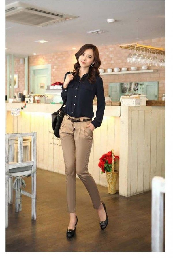 856cc5547060 Korean Women Career in Simple Style Dresses Fashion Trends 2013