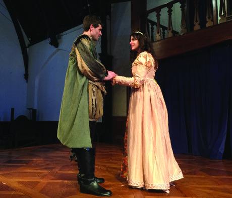 Chris Cotterman (Bassanio) and Valerie Dowdle (Portia). Photo by Lynne Menefee.