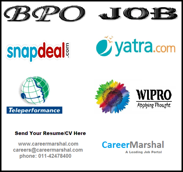 Career Marsha is hiring in Bulk... Back office jobs in ‪#‎Snapdeal‬ Travel Sales Consultant jobs in ‪#‎Yatra‬ BPO Jobs in ‪#‎Wipro‬ Noida Technical Support jobs in ‪#‎Teleperformance‬ No charges Send your resume here - http://careermarshal.com/post-resume-2/ or  careers@careermarshal.com Contact No. - 011-42478400 Search Any type of job here - http://careermarshal.com/find-a-job/ Note: You can inbox your number and profile detail..