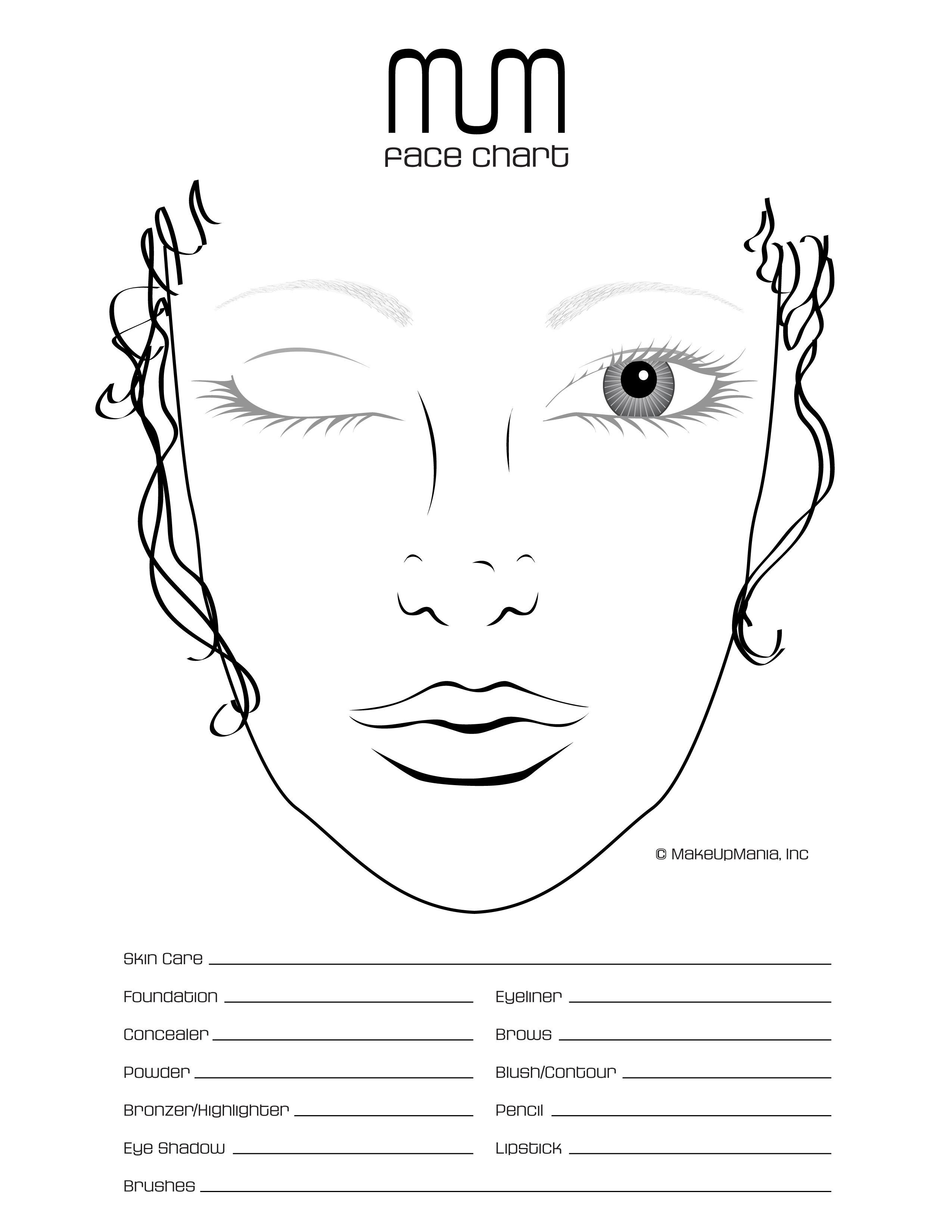 Face chart for practice and repertoire of looks make for Free drawing sites