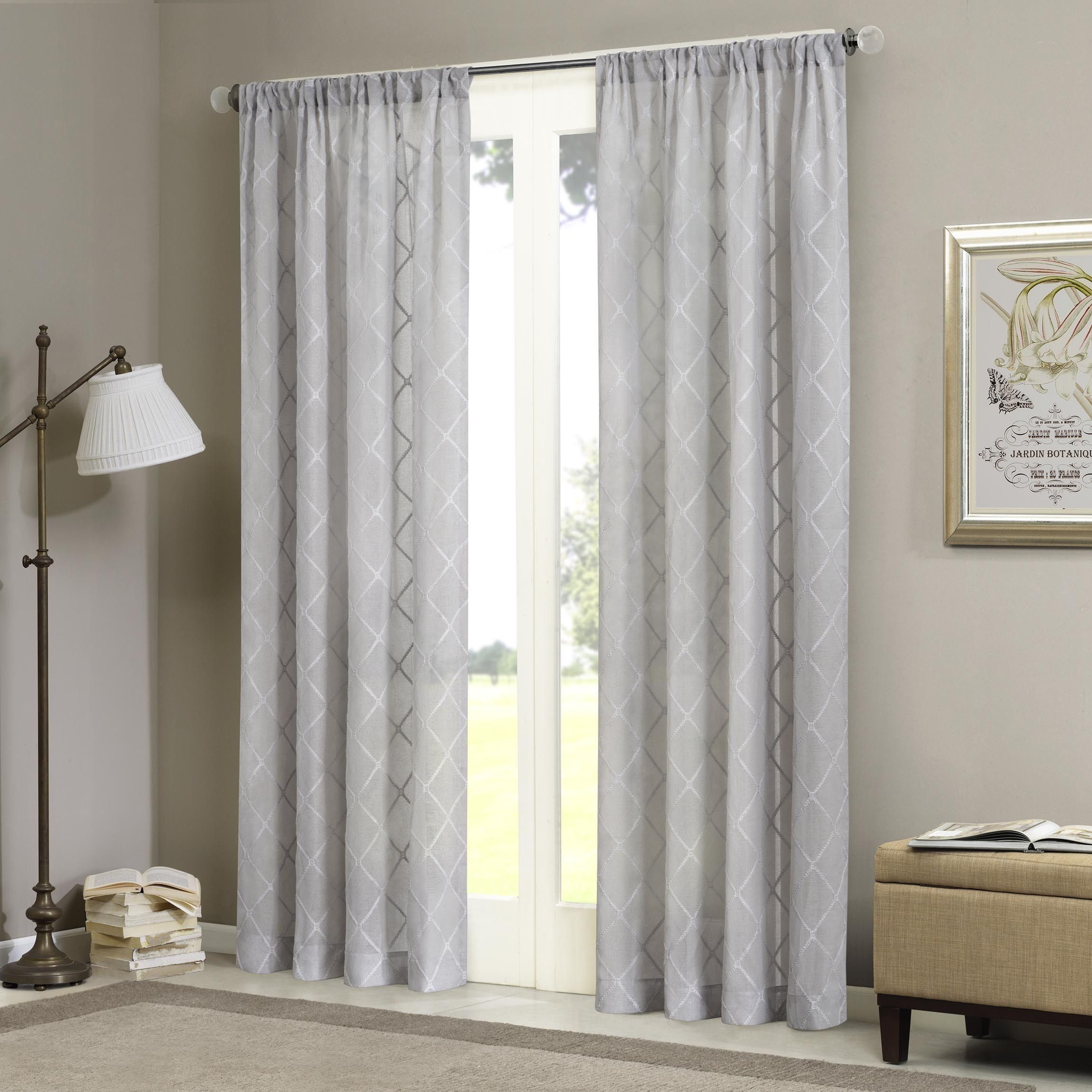 Threshold linen grommet sheer curtain panel product details page - Madison Park Iris Embroidered Diamond Sheer Curtain Panel By Madison Park