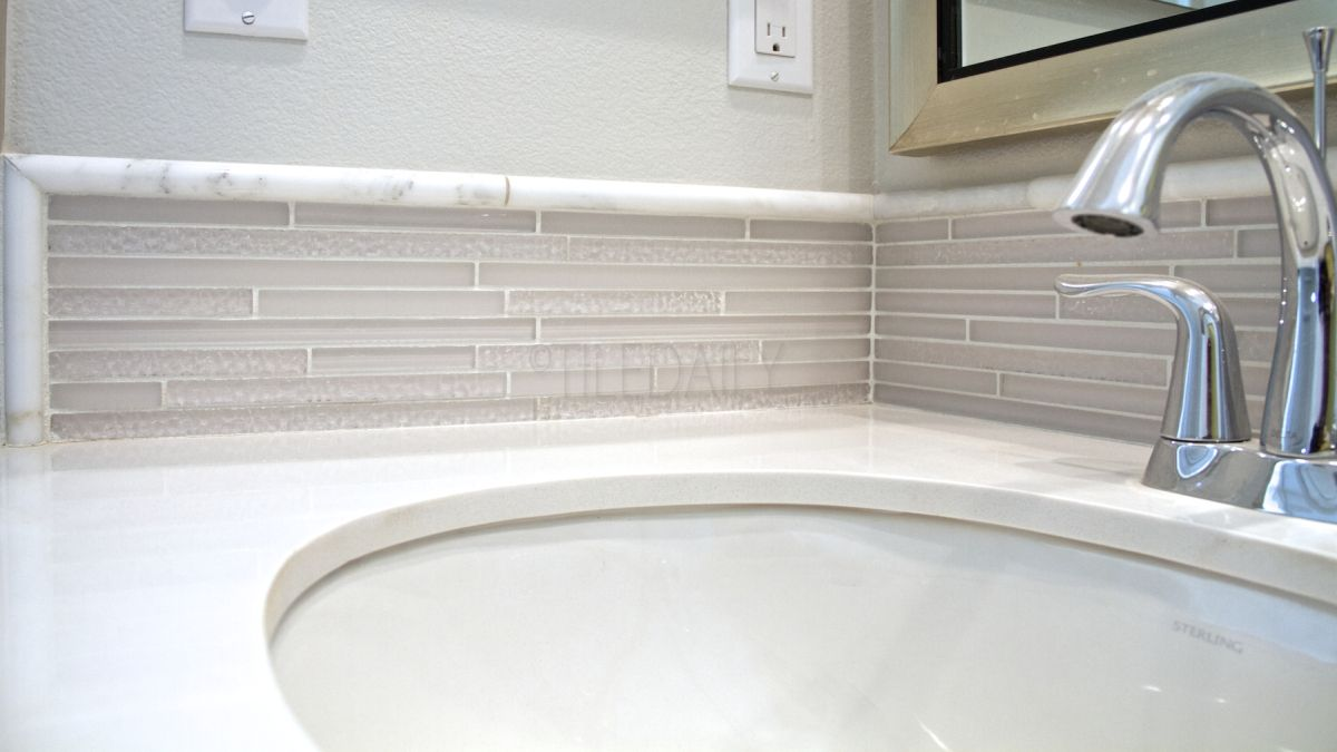 Featured Install - Bathroom. #tile #tiledaily #glass #mosaic #white ...