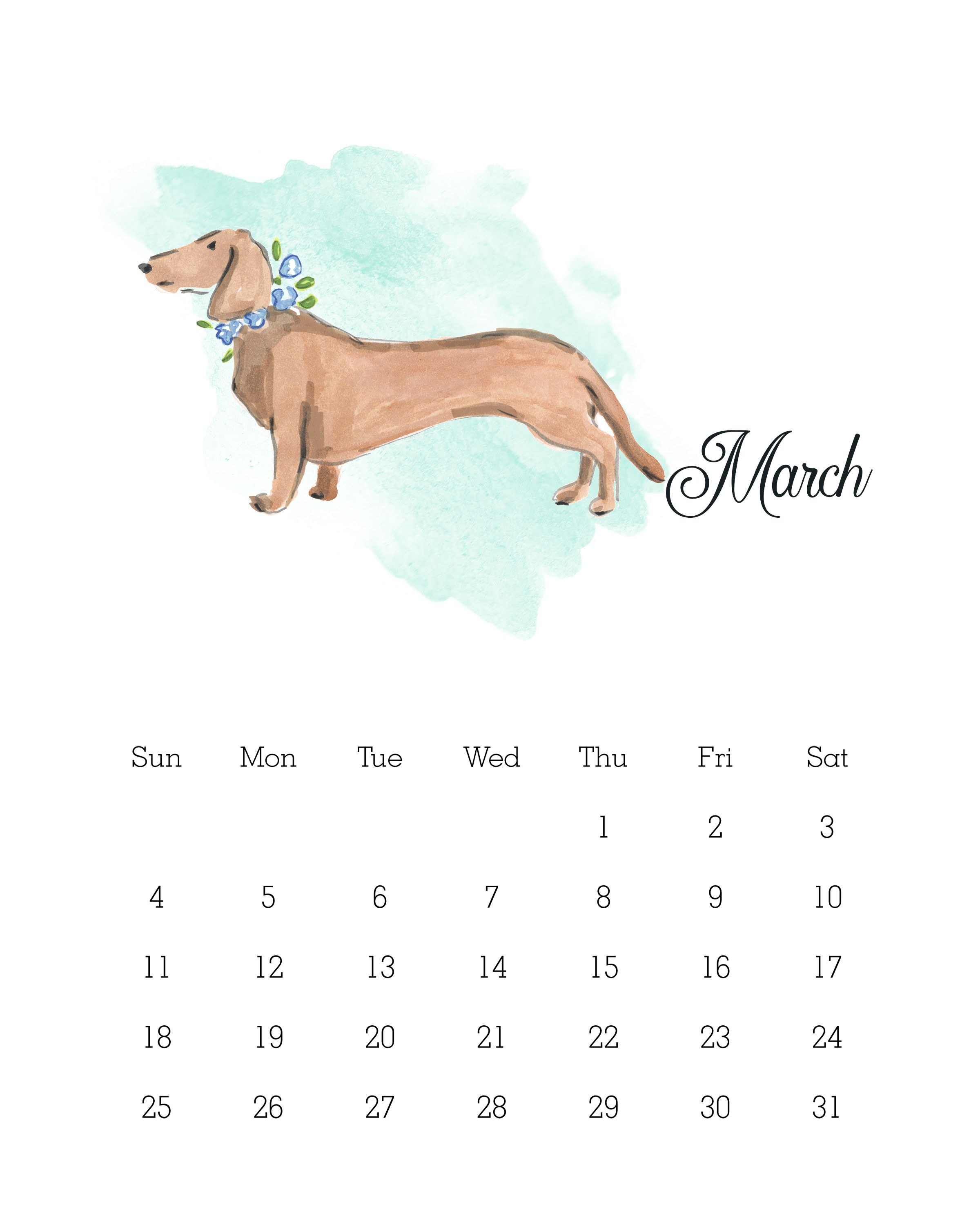 image about Printable Pictures of Dogs referred to as Absolutely free Printable 2018 Watercolor Puppy Calendar Calendars