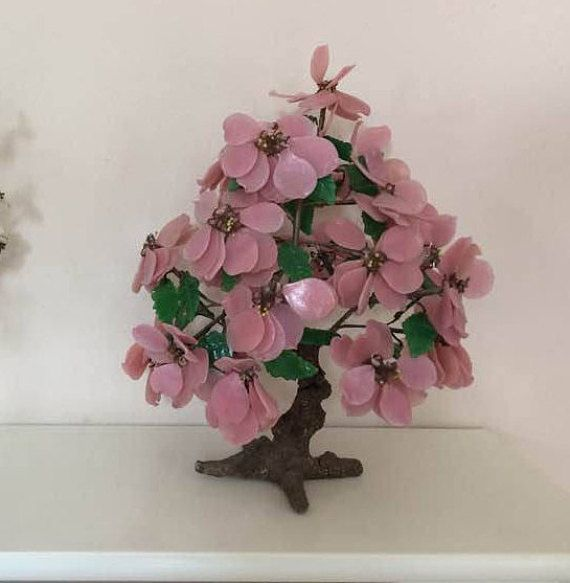 Vintage Cherry Blossom Bonsai Tree Glass Pink Flowers Cherry Blossom Bonsai Tree Pink Flowers Bonsai Tree