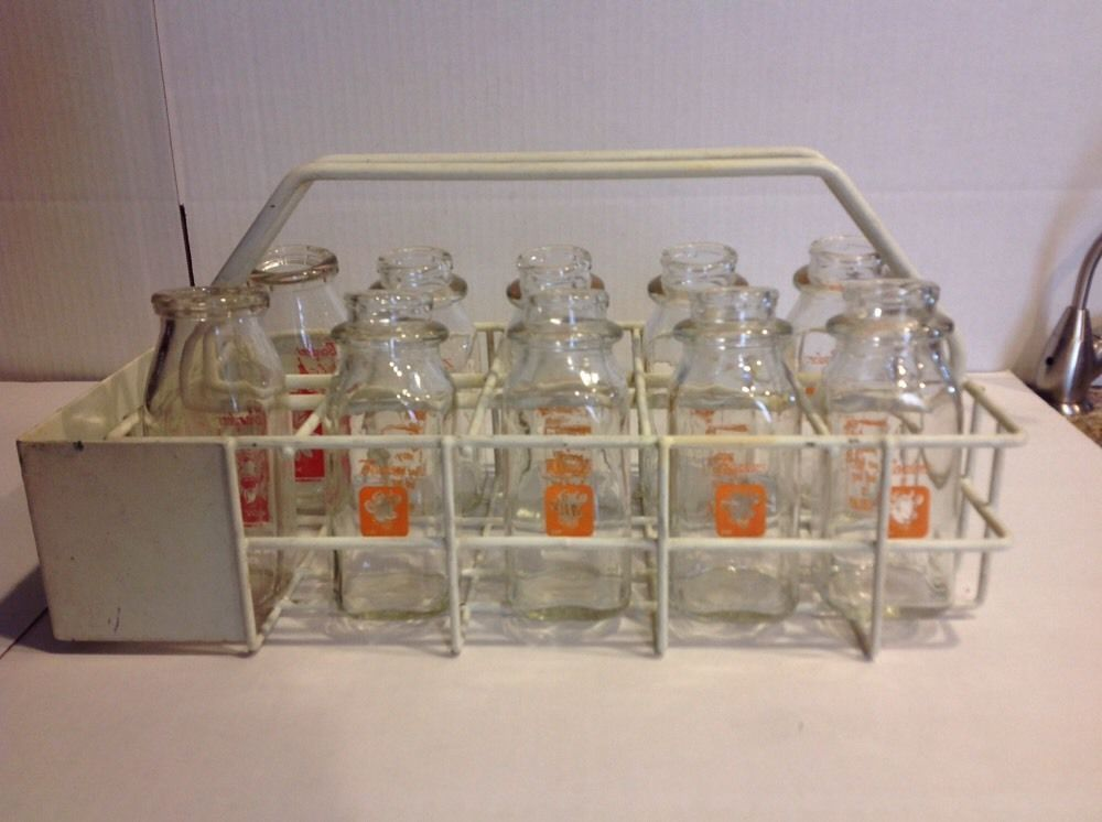 Vintage / Antique Milk Bottle Carrier With10 Borden Pint Milk Bottles in Collectibles, Advertising, Food & Beverage | eBay