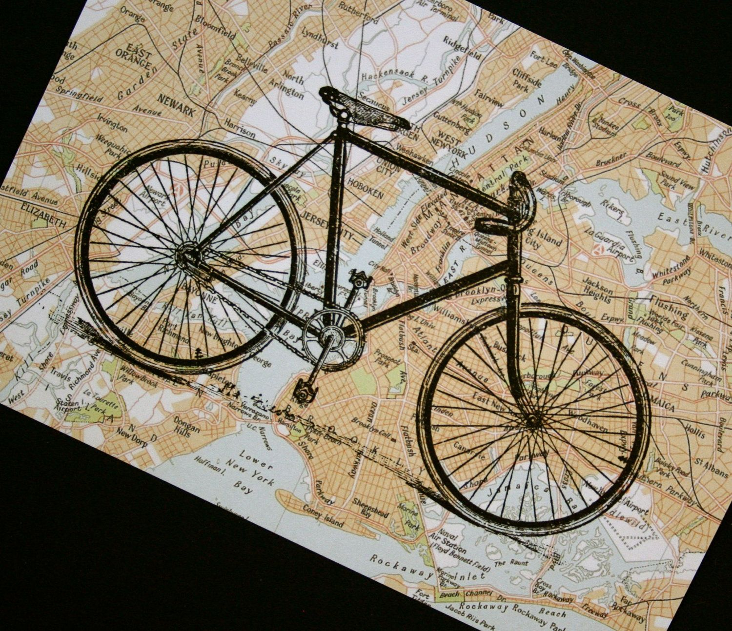 Bicycle Print on New York City Map - 5 x 7 Bike Print NYC Street Map ...