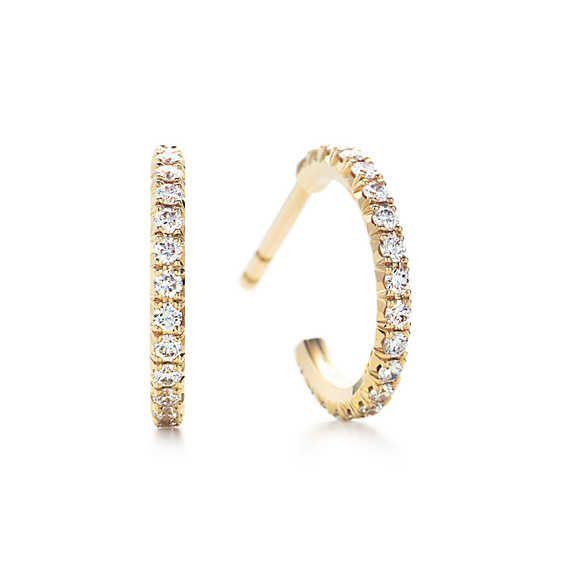 Tiffany Metro Hoop Earrings 18k gold Tiffany and Diamond