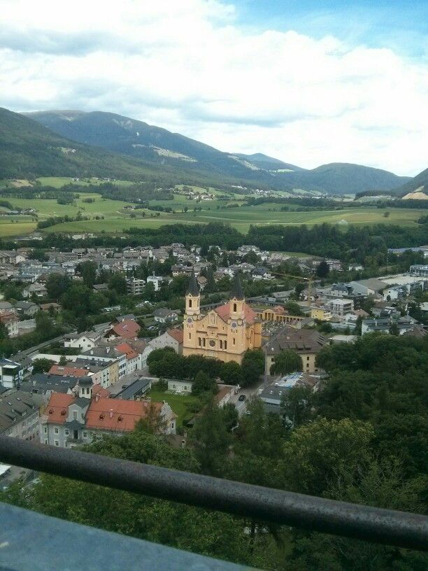 View of Brunico, Italy from tower of Castel Brunico