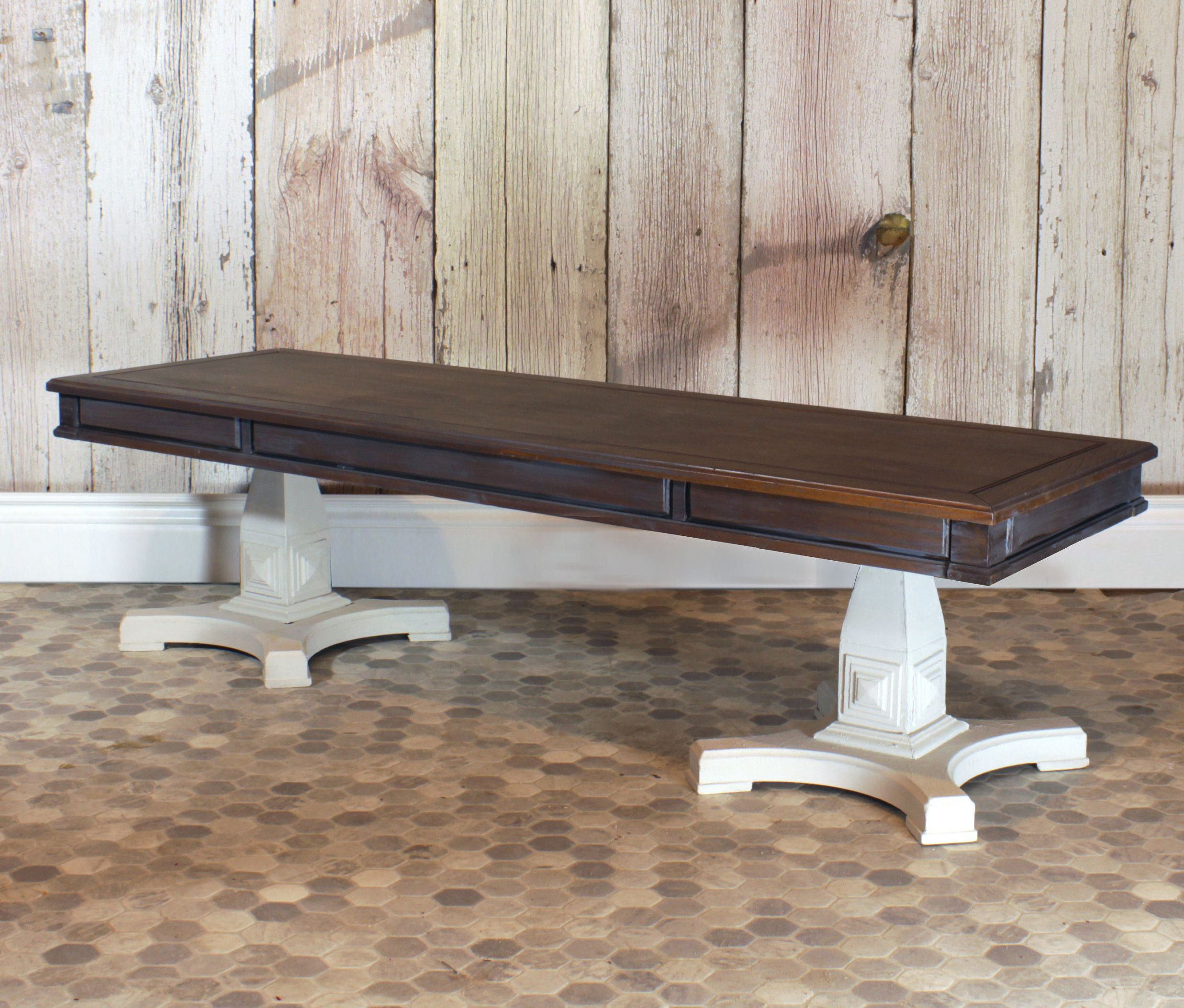 Rectangular Rustic Coffee Table Plaster Feet by
