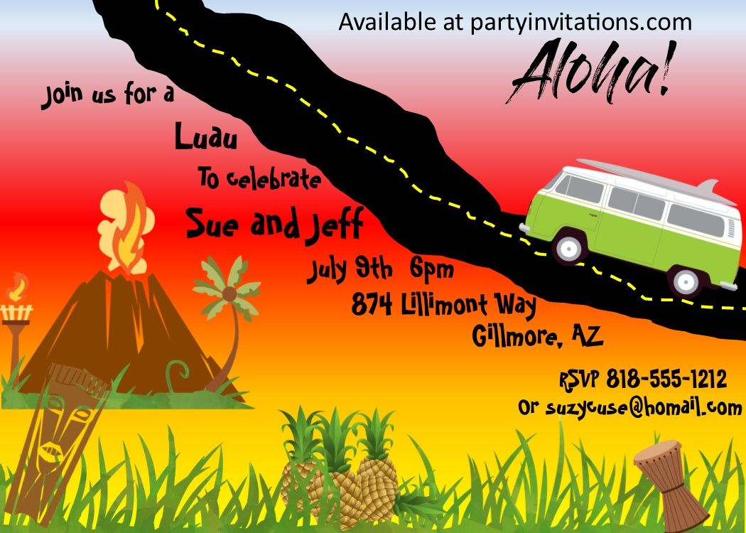 Luau party invitations with a volcano! available exclusively at ...