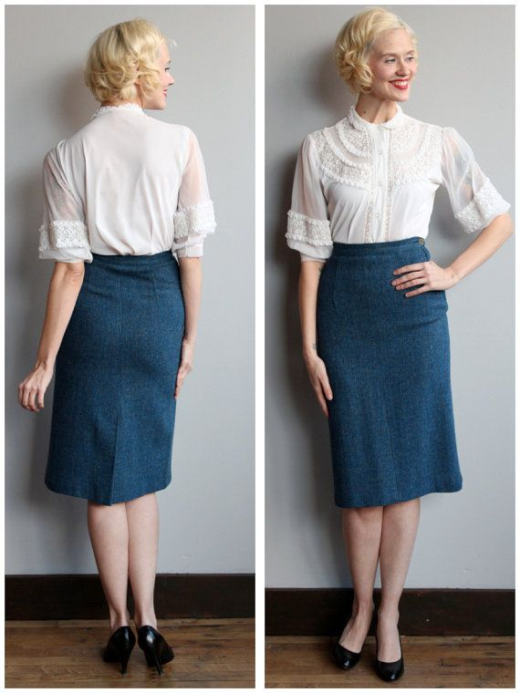 1950s Skirt // Blue Wool Pencil Skirt // 50s by dethrosevintage
