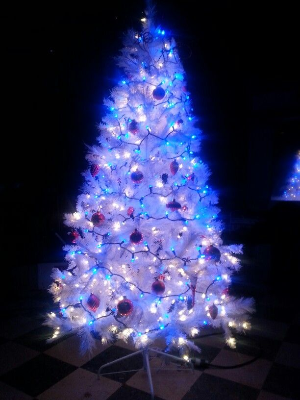 Red white and blue christmas tree for our parade float