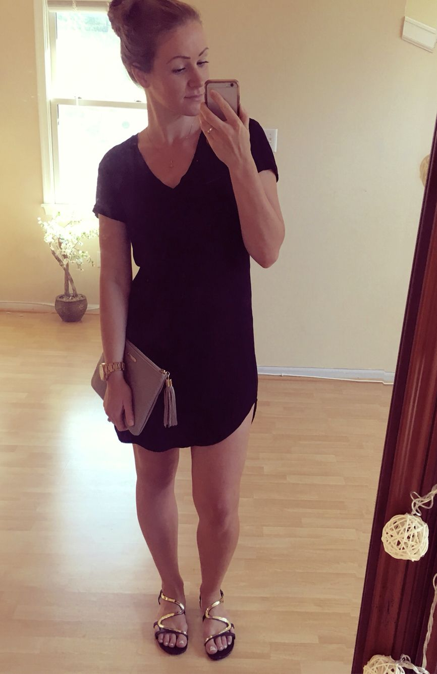The perfect T-shirt dress 👌🏼 By cloth & stone bought at TjMaxx. Vneck, black. Wear it in the summer with flip flops (I paired mine with Steve Madden black and gold sandals), transition into the fall with a cardigan, sneakers, converse, keds, ankle boots; and then repeat in the spring 💙