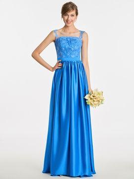 Scoop Appliques A Line Long Bridesmaid Dress #BridesmaidDresses #Scoop #Appliques #A #Line #Long #Bridesmaid #Dress