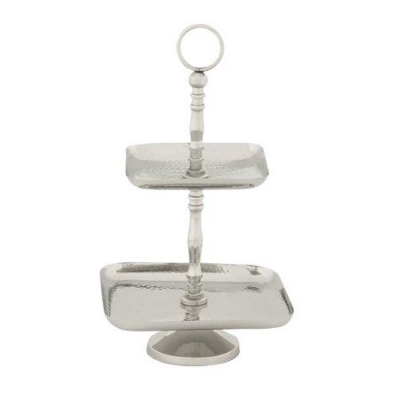 Decmode Stainless Steel 2-Tier Tray Stand, Multi Color, Multicolor