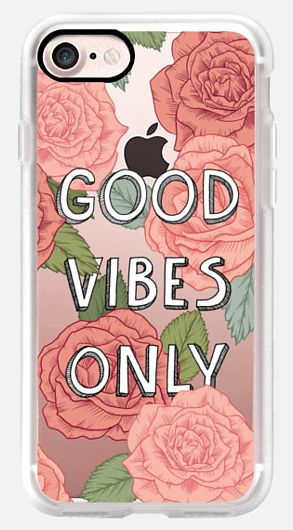 Casetify iPhone 7 Case and Other iPhone Covers - Good Vibes Only by Marta Olga Klara. | #Casetify #floral #pattern #pink #cute #roses