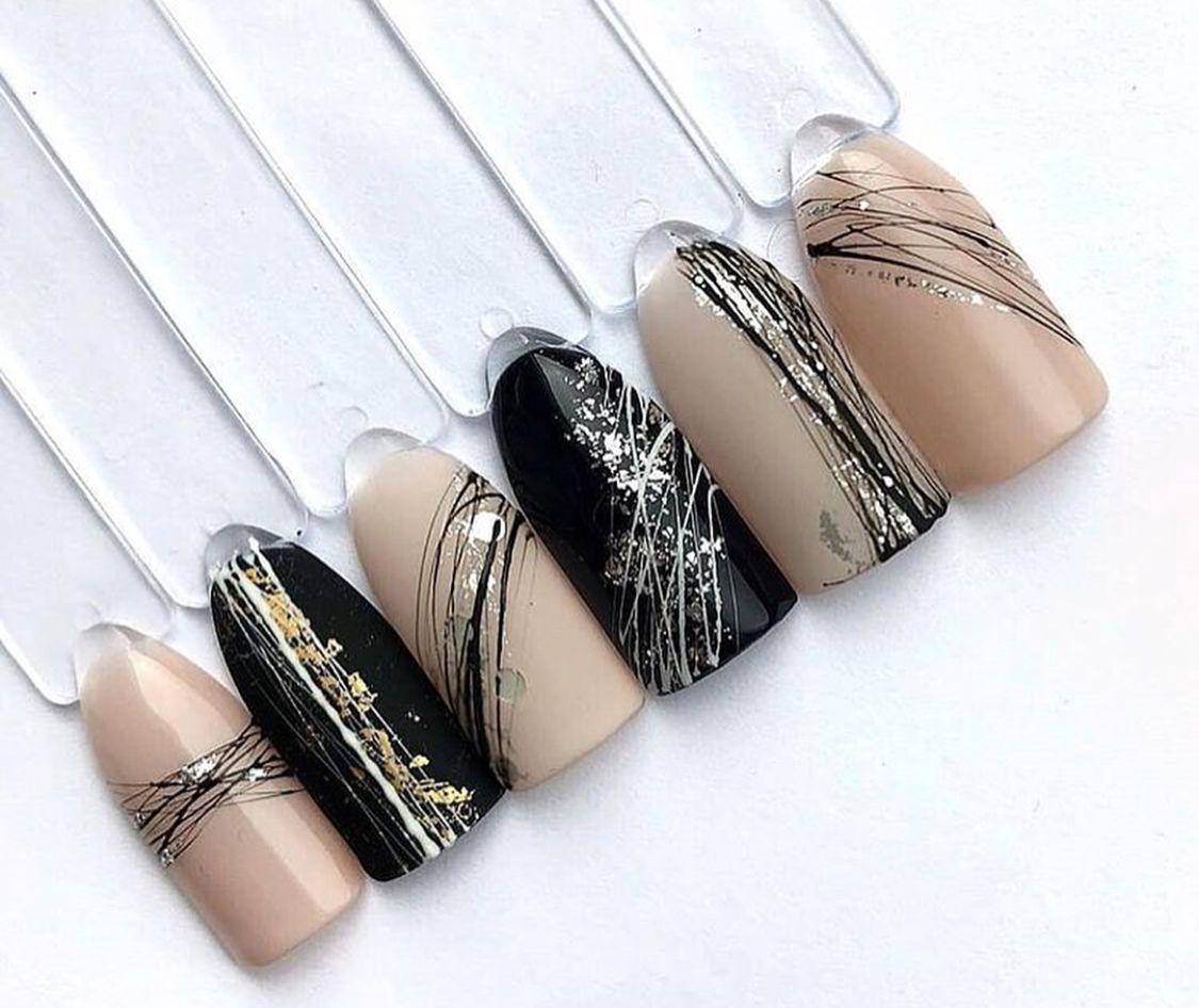 Маникюр с нитями для дизайна ногтей фото