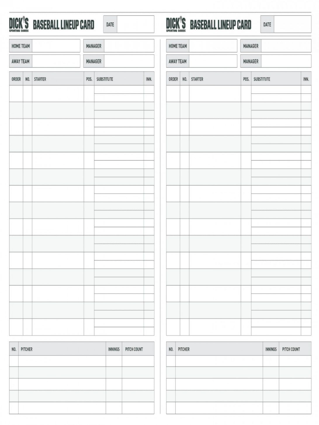 Baseball Lineup Template Card Printable Excel Free Fillable Pertaining To Free Baseball Lineup Card Template Gre In 2020 Baseball Lineup Card Template Baseball Lines