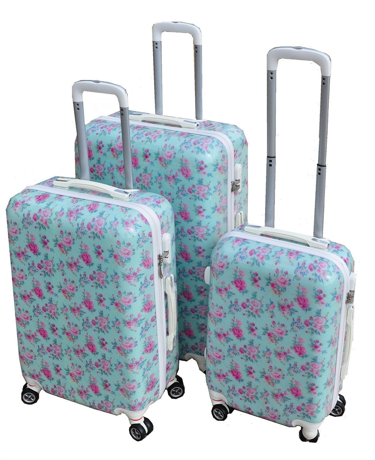 AQUA ROSE BLUE & PINK LARGE 28 SUITCASE LUGGAGE CASE HARD SHELL ...