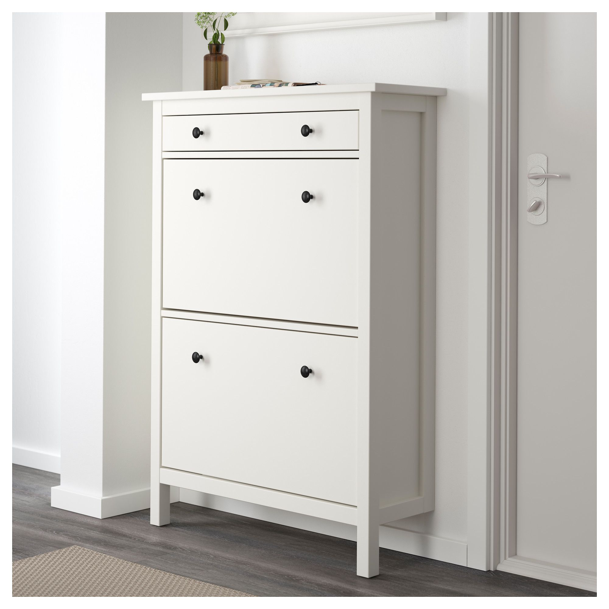 ikea hemnes shoe cabinet with 2 compartments white. Black Bedroom Furniture Sets. Home Design Ideas
