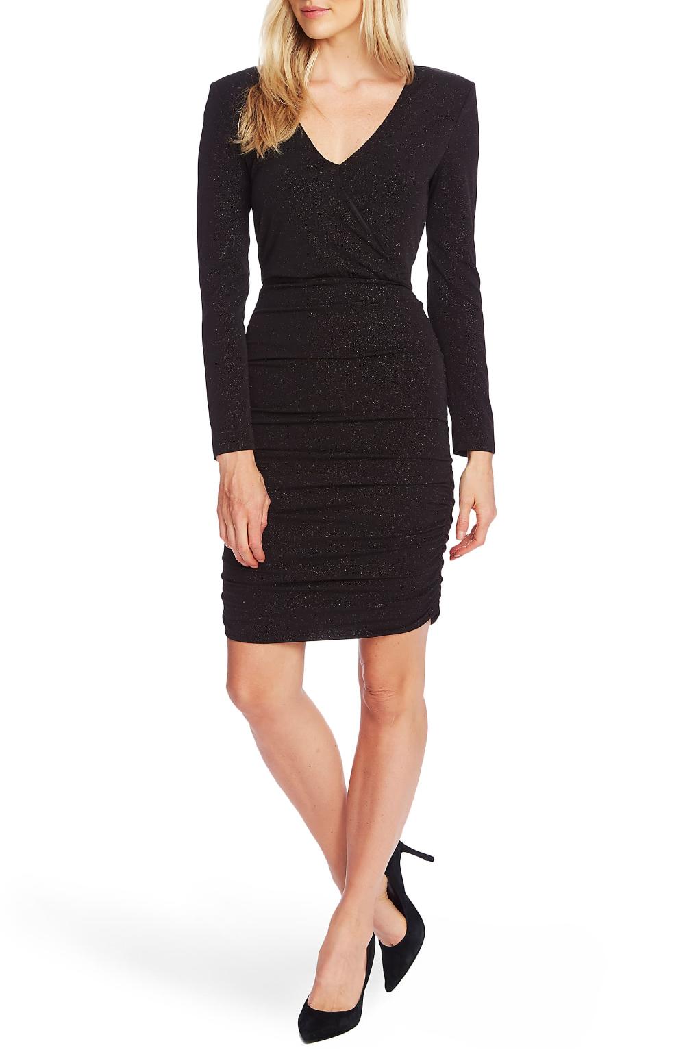 Vince Camuto Sparkle Long Sleeve Faux Wrap Dress Nordstrom Faux Wrap Dress Nordstrom Dresses Wrap Dress [ 1533 x 1000 Pixel ]