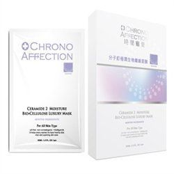 Chrono Affection Ceramide 2 Moisture Bio-Cellulose Face Mask by Chrono Affection. $44.50. 3ct Box. WHICH WORKS DEEP INTO SKIN LAYERS TO BOOST WHITENING ACTION AND HELP DEDUCES THE APPEARANCE OF MELANIN AND PIGMENTATION FOR TRANSLUCENT FAIR AND SUPPLE SKIN FROM WITHIN.. OIL FREE, NON-COMEDOGENIC,MILD AND GENTLE. Ceramide 2 Moisture Bio-Cellulose Face Mask. IT HELPS EVERY WPWAM TO AHVE HEALTHY DEAL, VITAL AND SPARKING SKIN EVER.