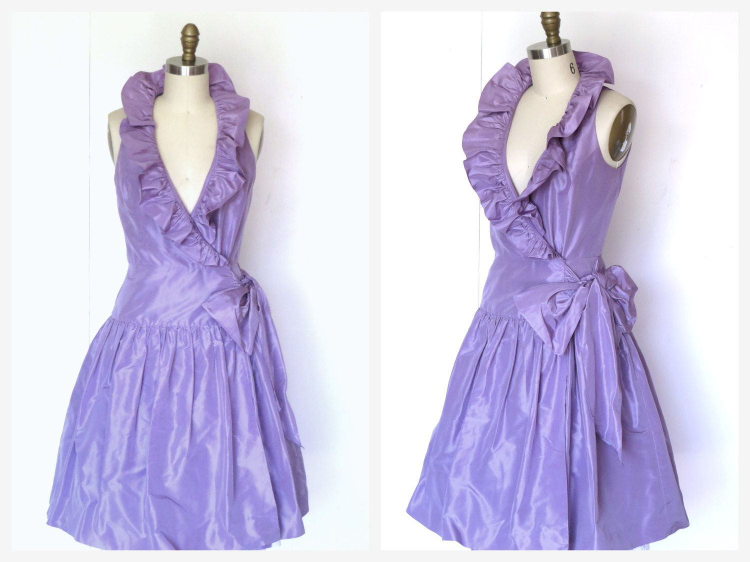 Vtg lavender silk cocktail prom dress ruffle collar full skirt wrap