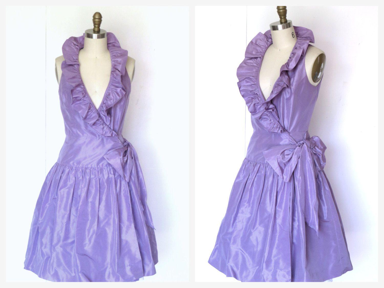 Vtg lavender silk cocktail prom dress ruffle collar full skirt wrap