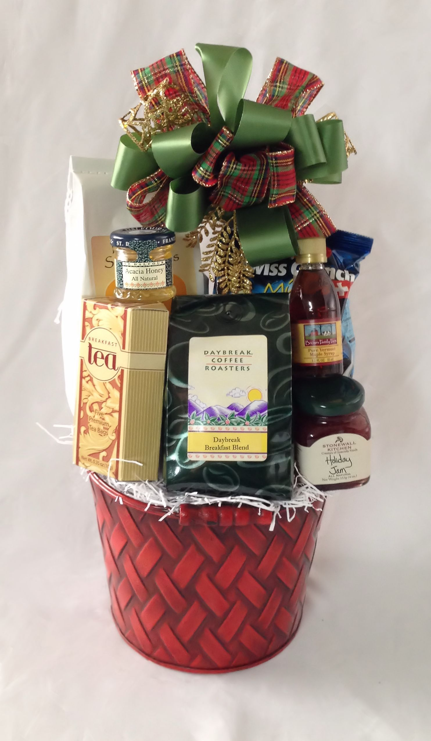 Breakfast Bucket.  Our popular breakfast ensemble spiced up for the holidays!