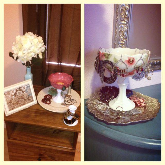 DIY jewelry holders... Out of candle holders and dish plates ) & DIY jewelry holders... Out of candle holders and dish plates ...