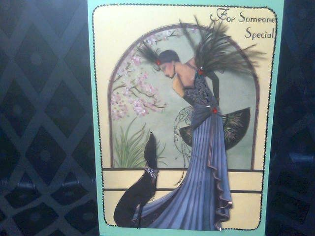 Art Deco Lady with Dog. feathers applied