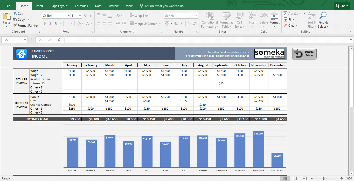 Family Budget Excel Budget Template For Household Budget