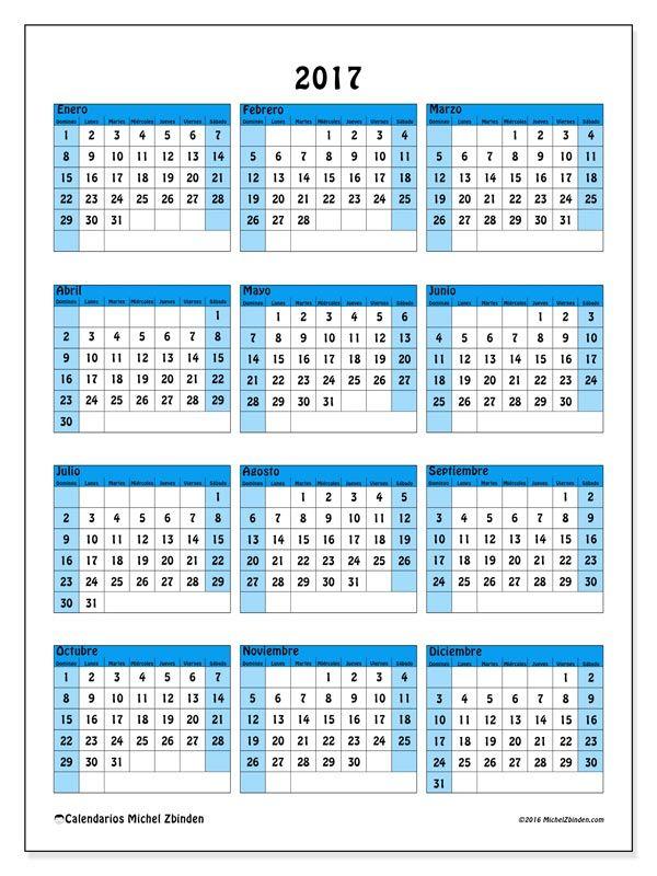 Gratis! Calendarios para  2017 para imprimir