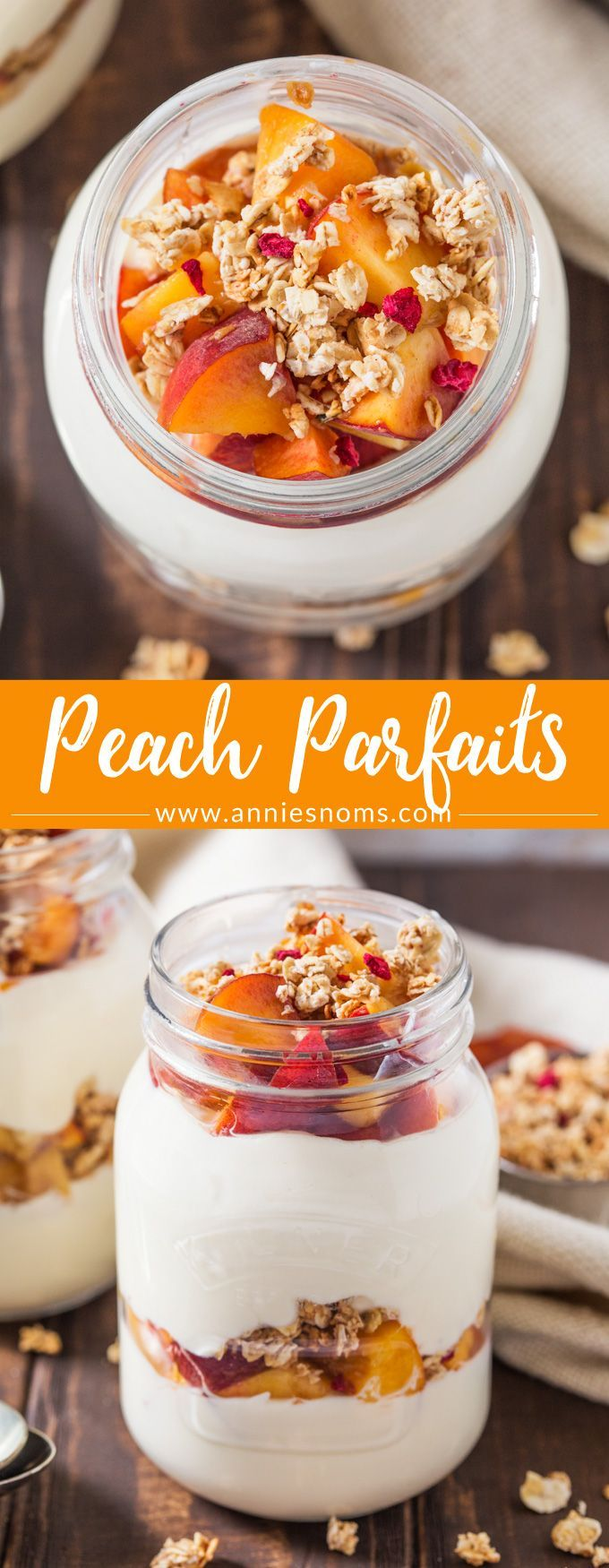 These Peach Parfaits are made with creamy Greek yoghurt, sweet peaches and crunchy granola; you decide whether these are breakfast or dessert!