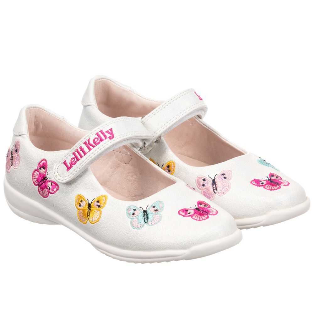 a6aa434be8df5 Sparkly white pumps for girls by Lelli Kelly, with velcro strap fastening.  These sweet