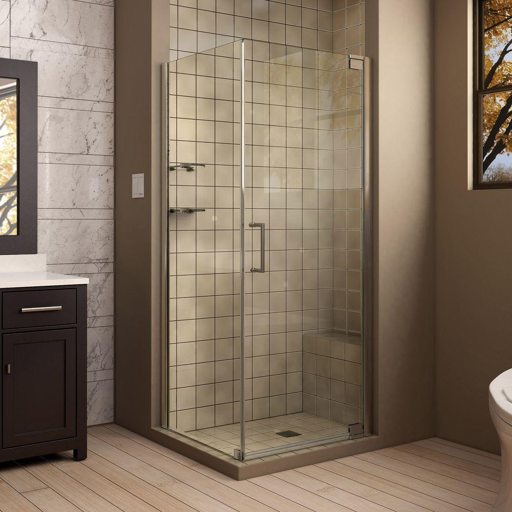 Dreamline Elegance 32 In X 34 72 Semi Framed Pivot Shower Enclosure Brushed Nickel