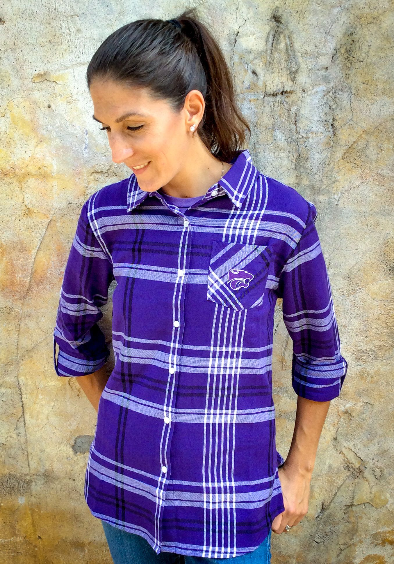 K State Wildcats Womens Boyfriend Plaid Long Sleeve Purple Dress