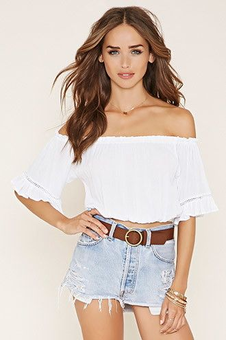 a08d79093a5 Crepe Off-the-Shoulder Crop Top | Concerts | Crop tops, Tops, Off ...