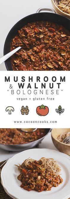 Mushroom & Walnut Spicy Bolognese — Cocoon Cooks