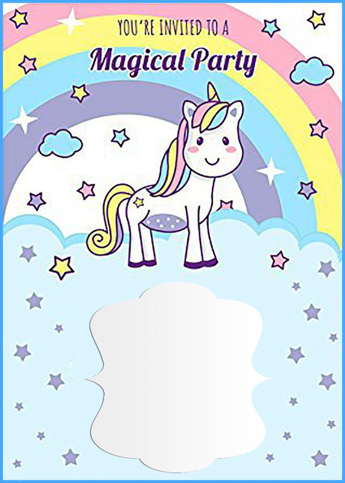Unicorn Free Printable First Birthday Invitation Template Unicorn