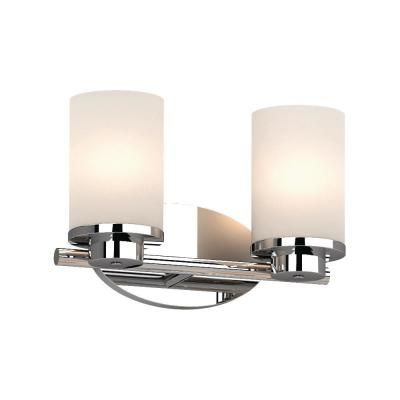Volume Lighting Sharyn 2 Light 8 25 In Chrome Indoor Bathroom Vanity Wall Sconce Or Wall Mount With Frosted Glass Cylinder Shades Bathroom Wall Sconces Sconces Wall Sconces