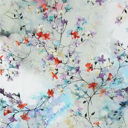 Bomuldssatin stretch m japanske blomster