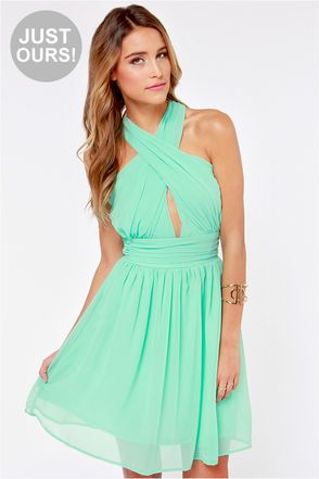 Lulus Exclusive This Twist Mint Green Halter Dress At