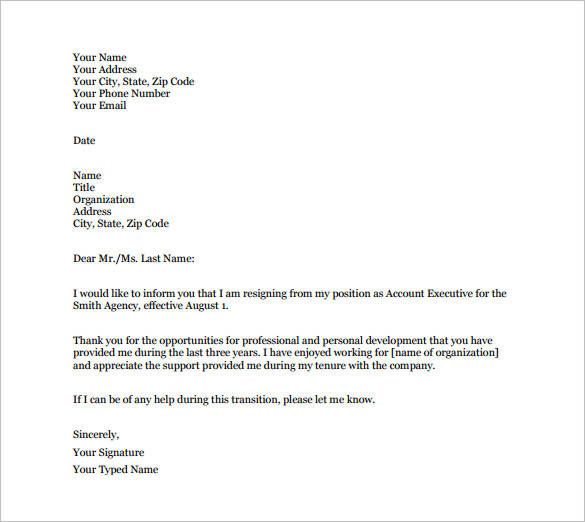 email resignation letter template 19 free sample example format