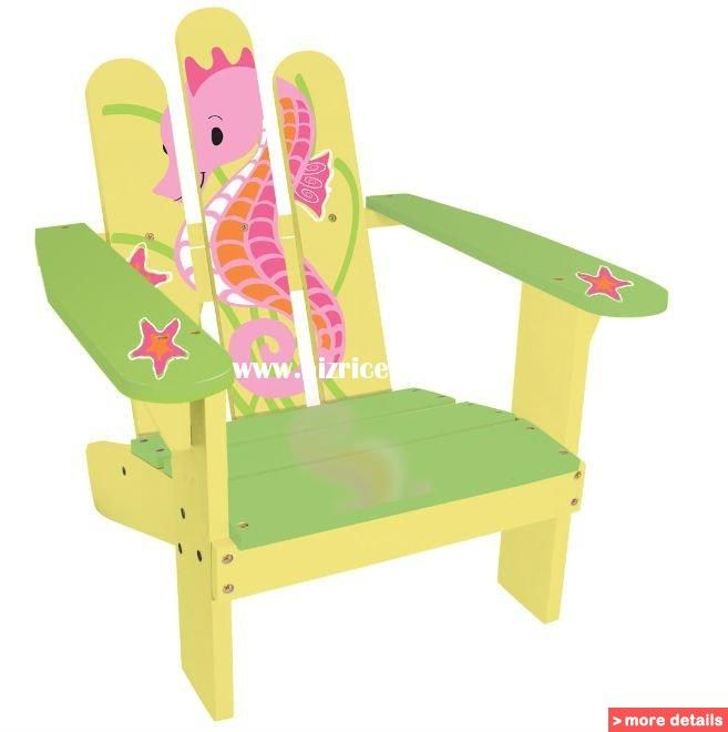Childs Adirondack Chair Painted With Seahorse Cartoon