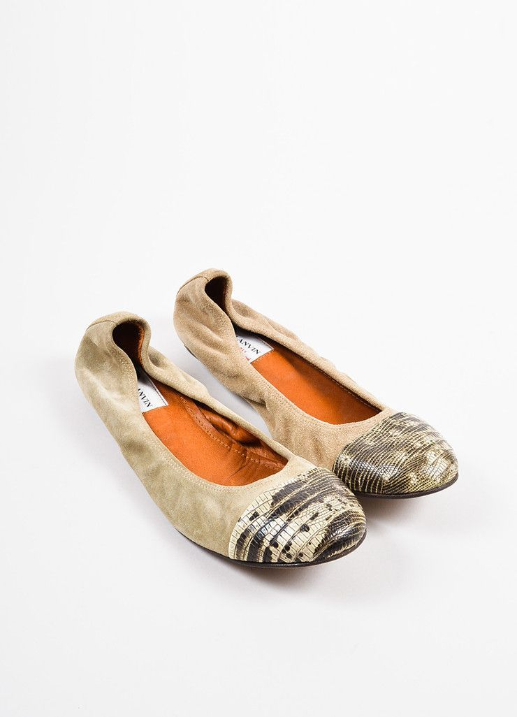 Lanvin Camel White and Black Suede and Snakeskin Cap Toe Ballet Flats