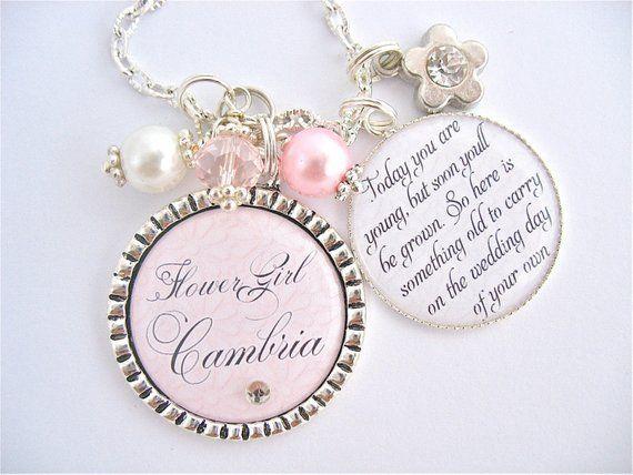 Personalised Engraved flowergirl bridesmaid wedding pendant necklace gift