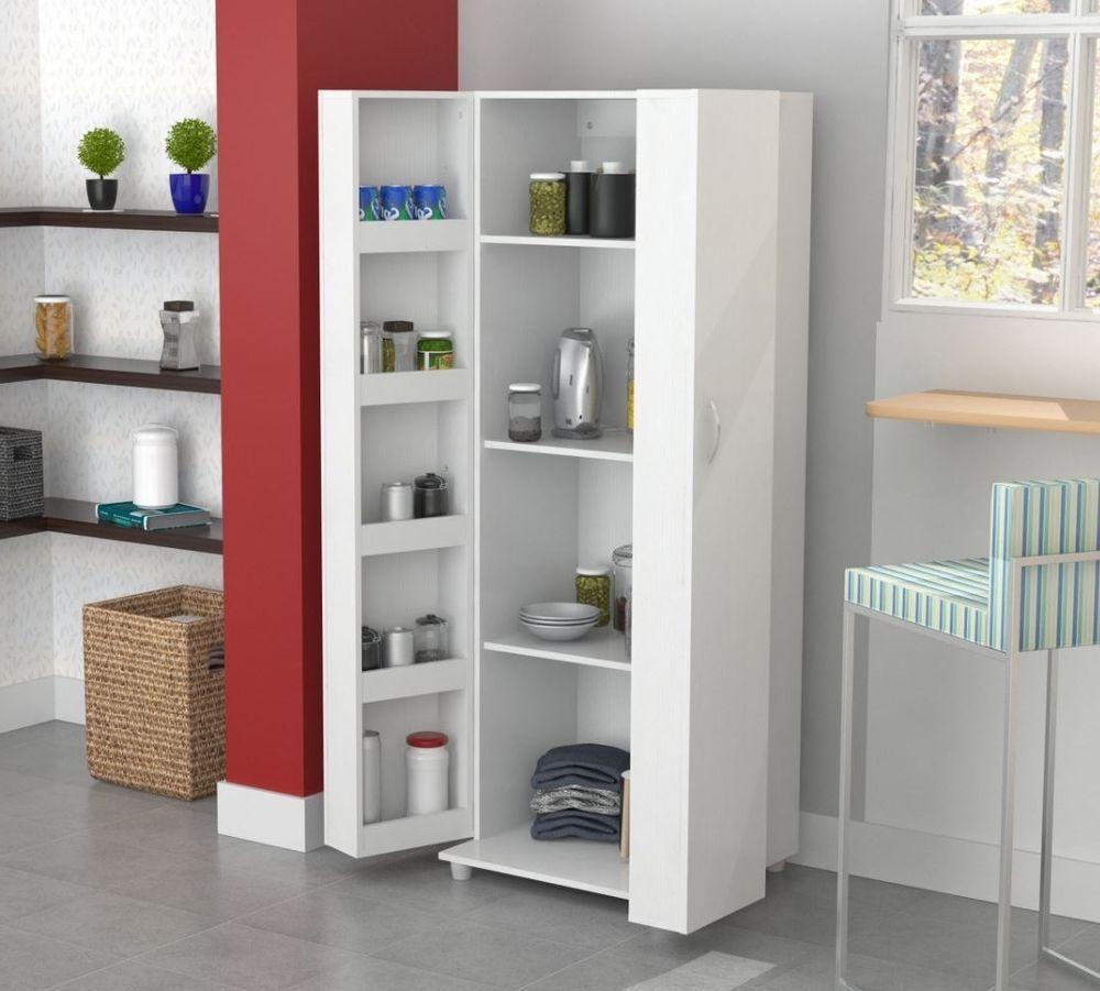 Details About Tall Kitchen Cabinet Storage White Food Pantry Shelf Cupboard Wood Organizer Kitchen Cabinet Storage