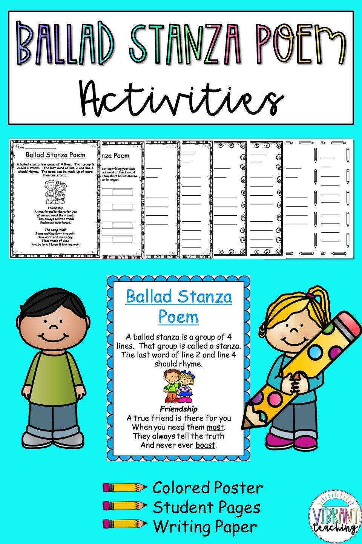 Ballad Stanza Poem Activities In 2020 Poem Activities Alliteration Poems Cinquain Poems