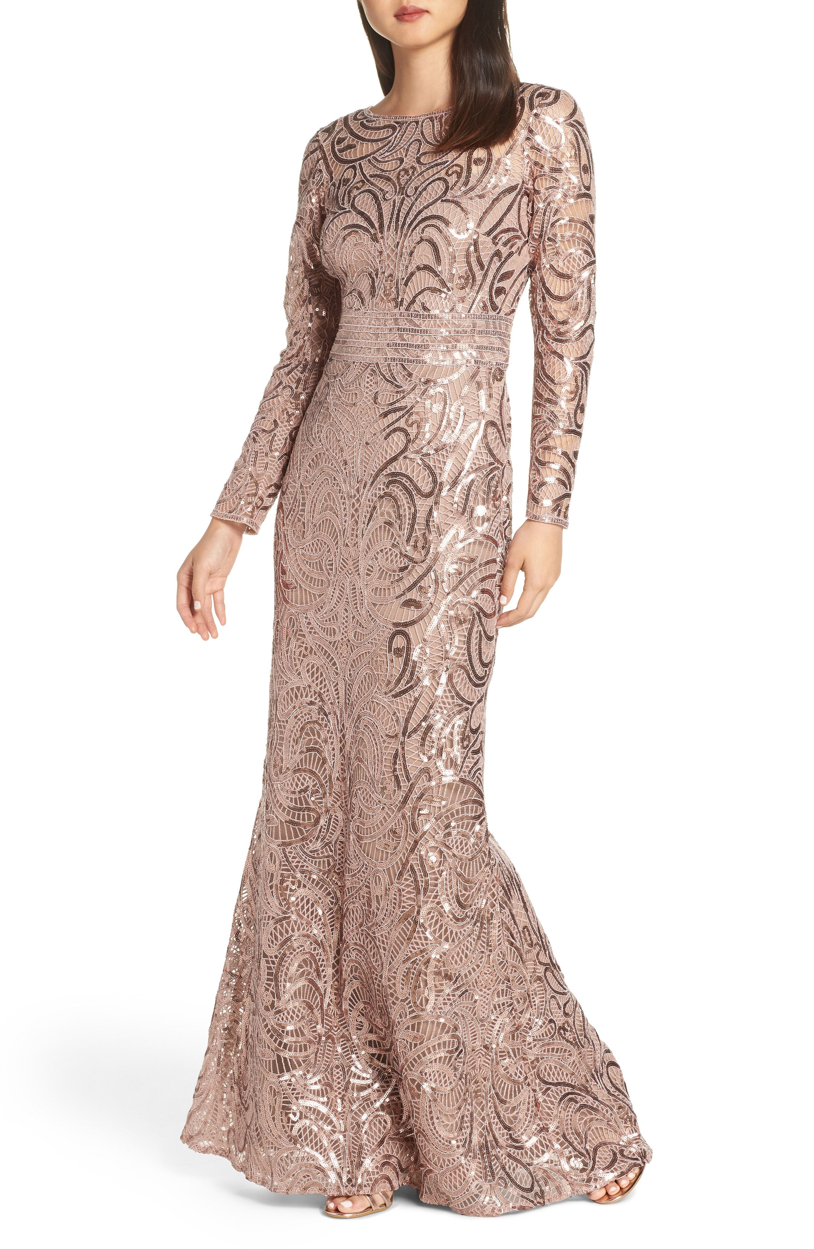 Amazing Sequin Rose Gold Gown Gorgeous Mother Of The Bride Dress With Long Sleeves T Bridesmaid Dresses Long Lace Mermaid Gown Mother Of The Bride Dresses